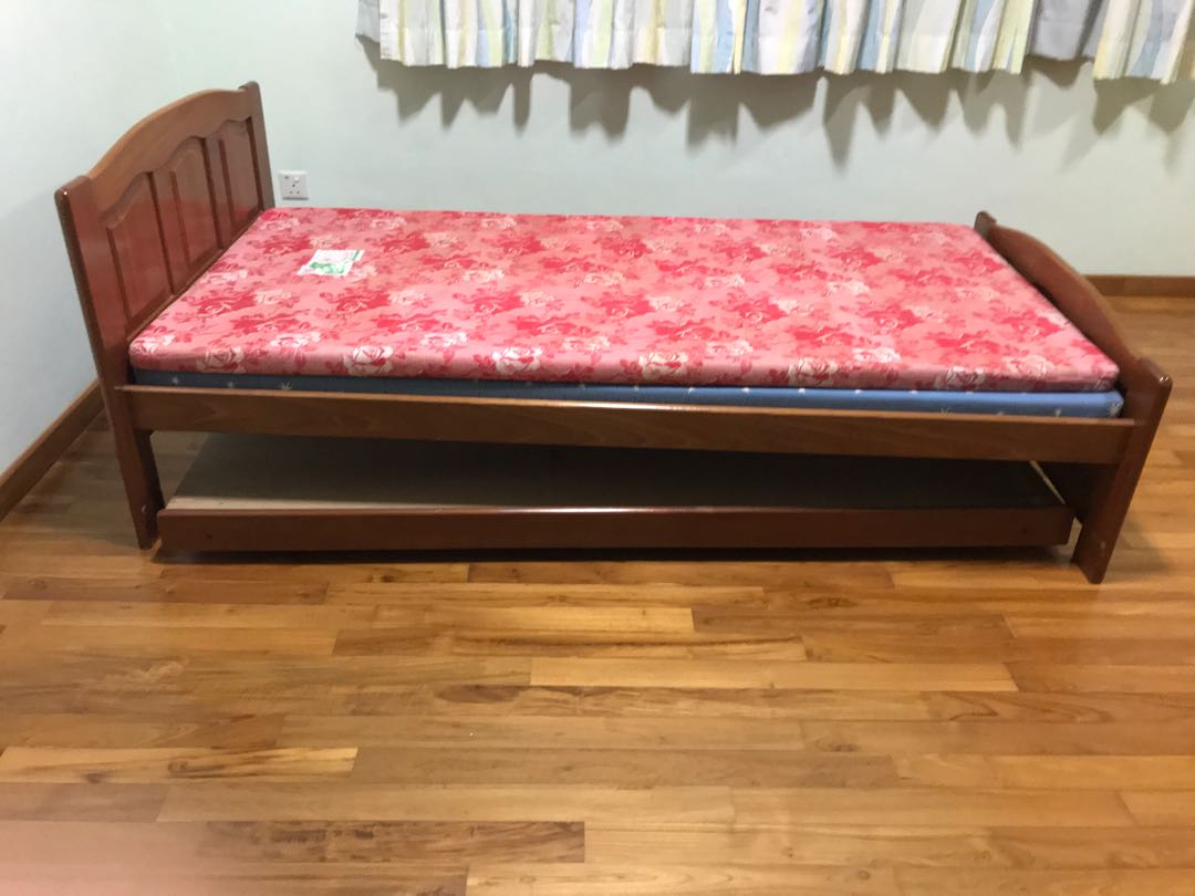 Single Wooden Bed Frame With Pull Out Roller Bed Furniture Beds