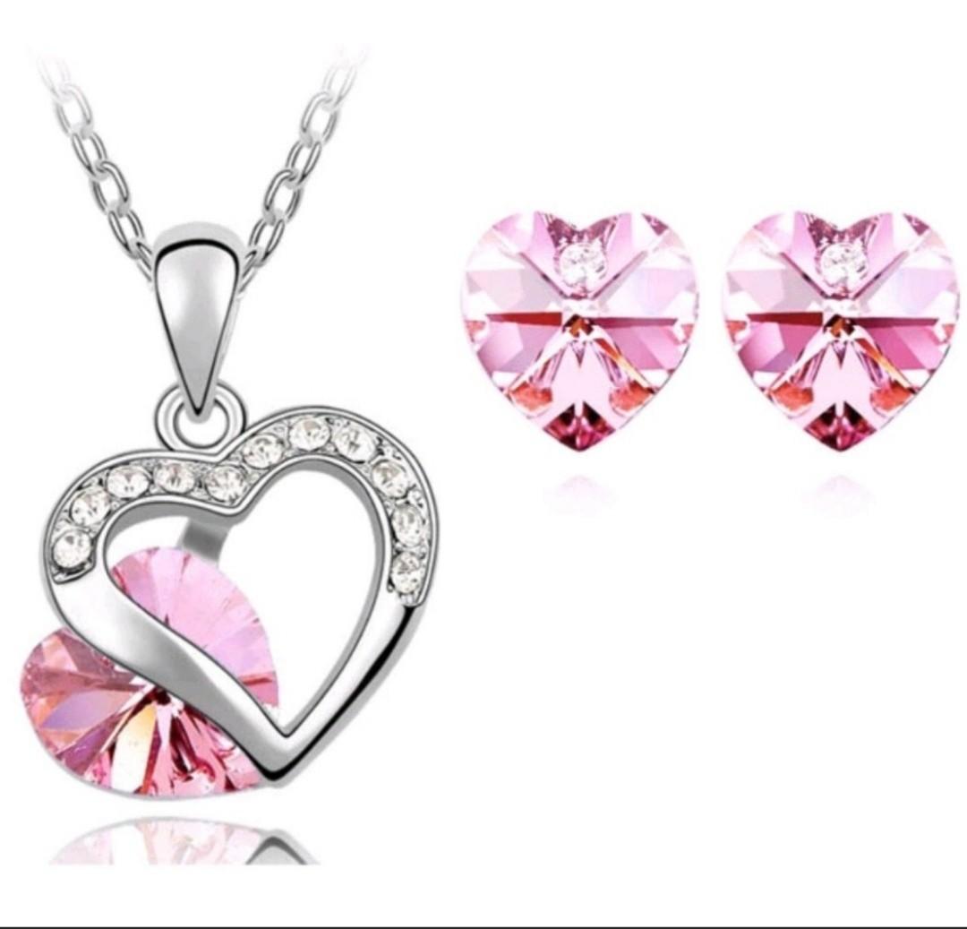 a07d8ccbb833f Swarovski elements crystal endless love necklace earring set