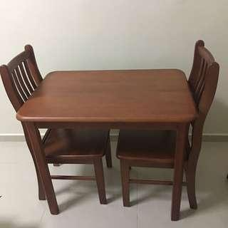 Solid wood full set dining table & chairs