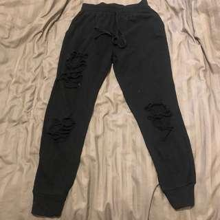 Ripped Black Joggers