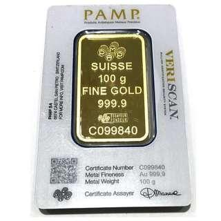 GOLD BAR 100GM, PAMP SUISSE, BRAND NEW