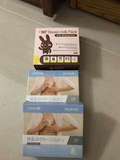 🚚 授乳清潔片一盒12片,共2盒,有一盒少一片,母乳保存帶30入