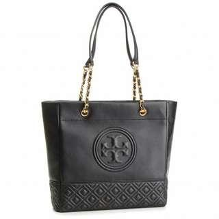 🚚 Tory Burch Fleming Tote Leather Bag in black