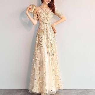 Brand New Mixsie Gold Glittery Long Sleeves Evening Gown