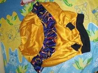 Setelan satin blouse kulot panjang