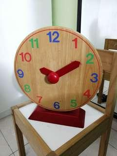 Clearance! IKEA solid wood educational clock for kids