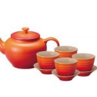 全新 Le Creuset 茶具組 1壺4杯