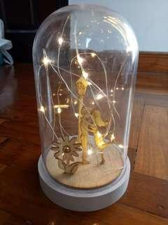 Couple in bell jar with fairy lights