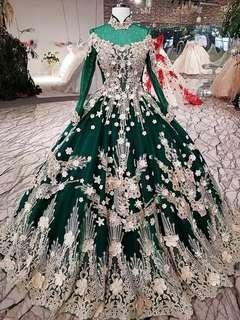 Green Wedding Dress Gown