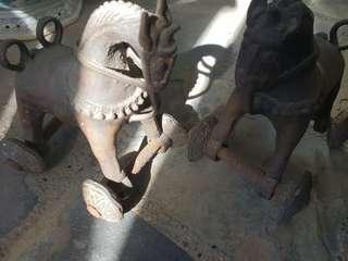 Antique Pair of Iron Horses
