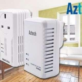 Pair of Aztech Homeplug Powerline Networking Ethernet Adapters