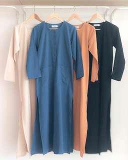LINEN LONG TOP baju kurta labuh split peplum blouse abaya abayah jubbah jubah jubba jubba
