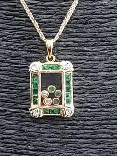 🚚 18K Yellow Gold Emerald Pendant with Happy Diamonds