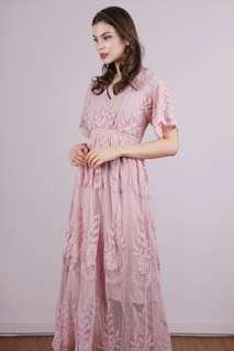 Tinselrack Mesh Embroidery Dress Blush Pink Maxi