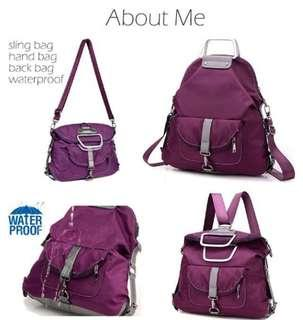 Japanese-Korean Stylish 4-Way PURPLE Bag (shoulder/sling/babkpack/handbag) with FREE GIFT #NEW99