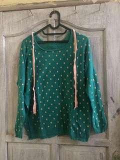 REPRICE Green doty sweater
