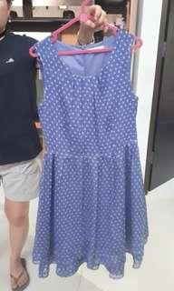 Mini dress polkadot biru