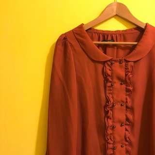 🚚 日貨heather磚紅荷葉襯衫