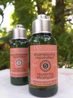 L'Occitane Repairing Shampoo & Conditioner Travel Size