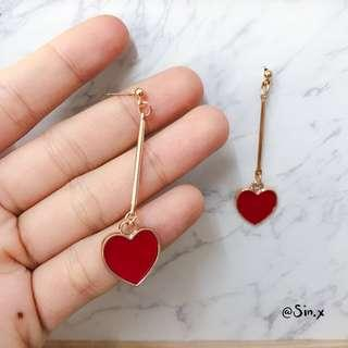 Korean Ulzzang Heart golden dangling earring