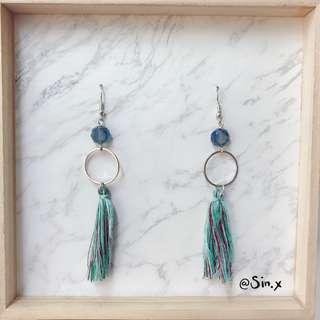 Korean Ulzzan Emerald tassel earring