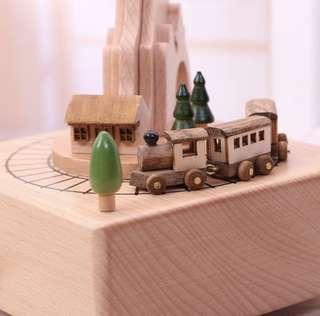 Solid wood train musical box