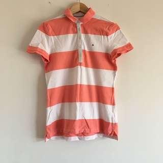Tommy Hilfiger polo peach and white