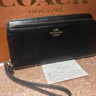 FIRE SALE! CLEARANCE SALE BNWT AUTHENTIC COACH DOUBLE  ACCORDION ZIP WALLET IN LEATHER (COACH F53680)  GOLD/BLACK