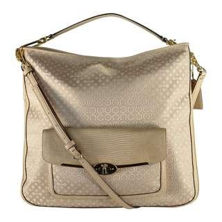 BNWT AUTHENTIC COACH SIGNATURE LIKHA 27906 SHOULDER CROSSBODY LIGHT KHAKI JACQUARD