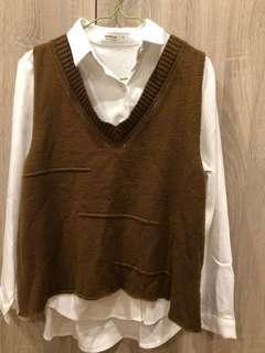🚚 襯衫馬甲針織背心+兩件針織背心