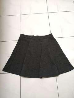 Grey A Line Flare Skirt