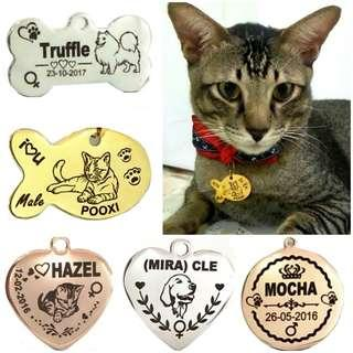 Deeply Engraved In Black Text Customized Designer Pet ID Tag For Dogs & Cats