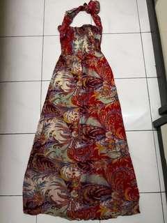 Batik Halter Neck Maxi Dress