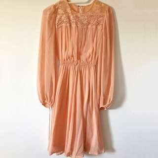 Vintage 60s Peach Colored Dress
