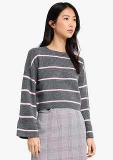 Topshop petite striped Crop Top jumper