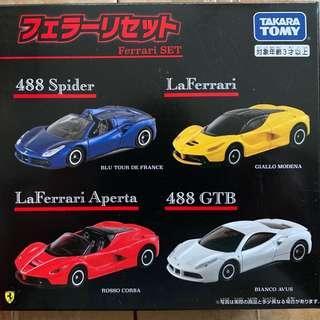 全新 Tomy Tomica Ferrari Set Boxset 法拉利套裝 LaFerrari Aperta 488 Spider GTB 聖誕禮物Xmas