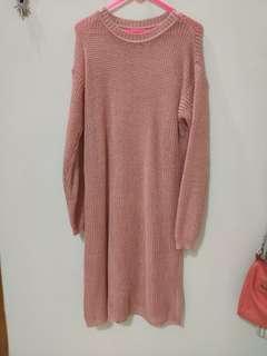 SWEATER DRESS SLIT DUSTY PINK