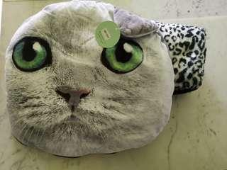 Cute Cat Cushion with blanket included