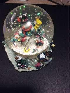 Snowman snow globe music box water ball