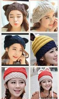 Cat ear Winter Beanies Hood Winter Knitted  Balaclava Hat Ski Army Stocking Winter Cap Beanie Hood