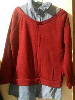 🚚 紅色假兩件針織衫