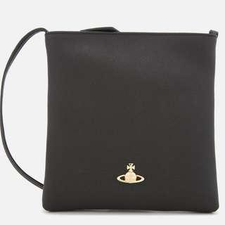 VIvienne Westwood Black Leather Crossbody Bag Clutch Purse Made in Italy