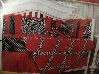 Baby bed set collection red zebra