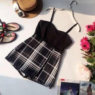 •INSTOCK• Black Grid Sleeveless short skirt Romper