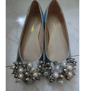 日本 粉綠 珍珠閃閃 尖頭 真皮平底鞋 Flat