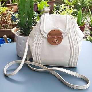 WHITE MINI MIMCO GENUINE LEATHER SLING BAG