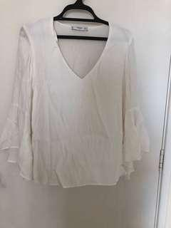 Mango flared sleeve top