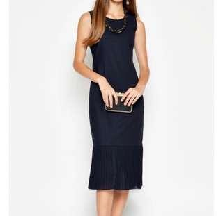 Love and Bravery pleated midi dress in Navy