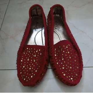 紅色 平底豆豆鞋 Red Bling Bling flat shoe
