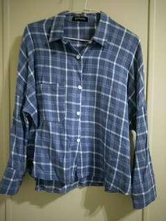🚚 降❗藍格紋落肩襯衫#半價衣服拍賣會